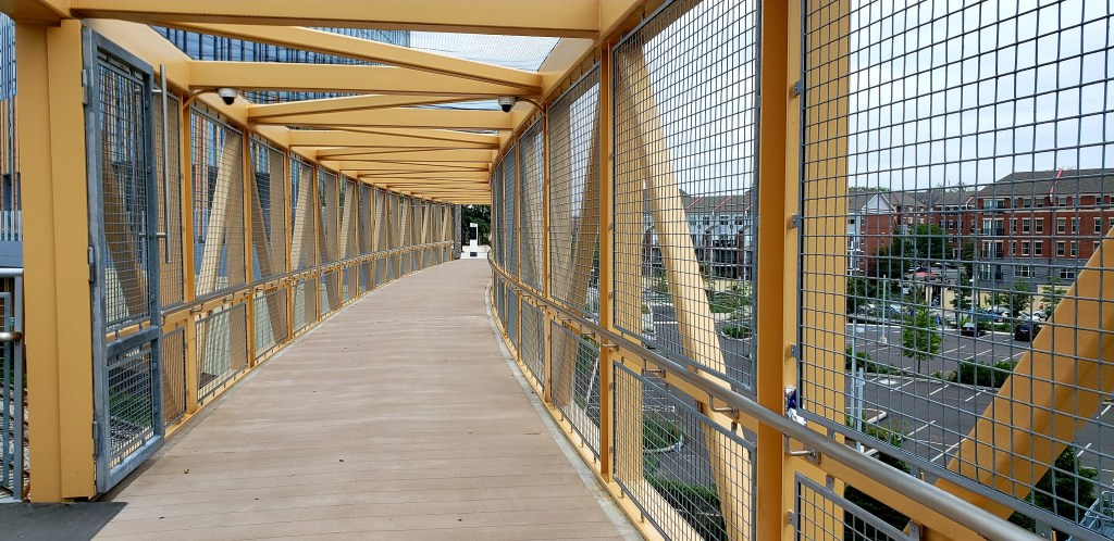 Bridge connecting the Roberts Center for Pediatric Research to the Schuylkill River Trail.