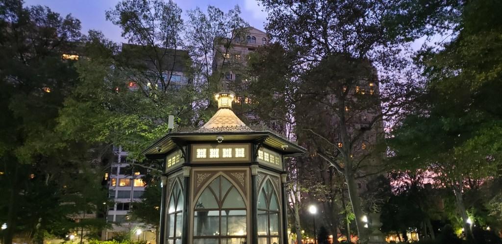Rittenhouse Square Philadelphia at dusk.