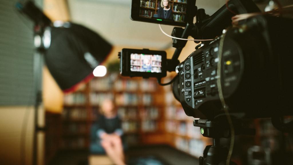 Filming an interview.