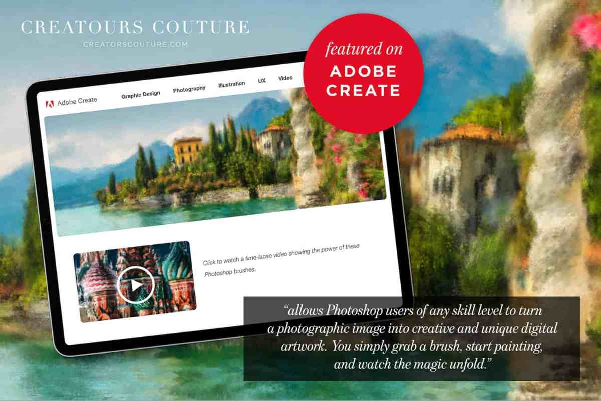 This explainer image for Creators Couture outlines the advantages of using FREE Photoshop brushes to create Impressionist-like paintings