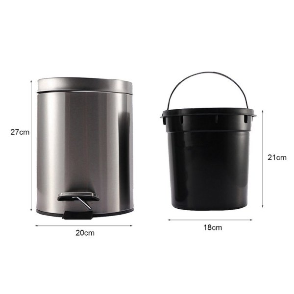 Small Step Trash With Close Lid Removable Wastebasket Anti-fingerprint Stainless Ste