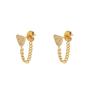 Stud earrings with chain leopard gold