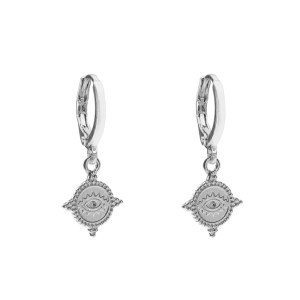 Earrings coin eye silver