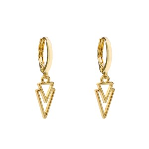 Earrings two way triangle gold