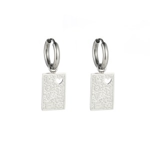 Earrings minimalistic tag love silver
