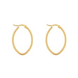 Earrings hoops oval basic small pattern gold