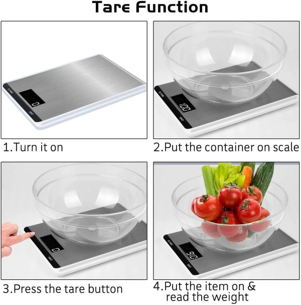 Touch Button Ultra-thin Stainless Steel Electronic Kitchen Scale Food Diet - Vegetables - Medicine