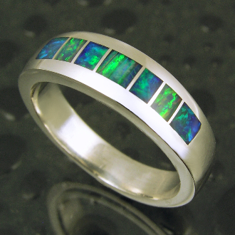 Australian Opal Inlay Ring By Mark Hileman
