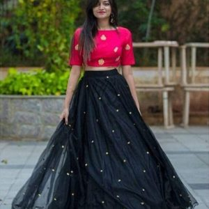 NENA FASHION Women's net Lehenga Choli