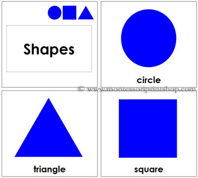 Toddler Geometric Shape Cards - Printable Montessori Toddler Materials for Montessori Learning at home and school.