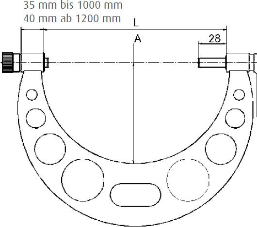 Micrometer, thread pitch 1,0 mm, range 800-900 mm-MI-01019155