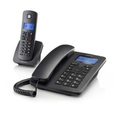 Combo Ενσύρματο/Ασύρματο Τηλέφωνο Motorola C4201, Μαύρο