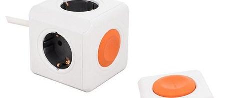 Πολύπριζο 4 Θέσεων με Τηλεχειριστήριο Powercube Extended Λευκό-Πορτοκαλί (25.225)