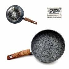 Τηγάνι Πέτρας Granite 20εκ. με Ξύλινη Λαβή 6mm Home&Style 050220-12