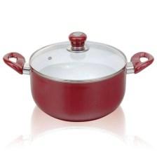 Κεραμική Κατσαρόλα με Γυάλινο Καπάκι 26cm Sapir SP-1318-G26C Κόκκινη