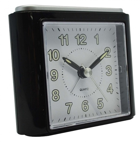 Ρολόι-Ξυπνητήρι 760145 Μαύρο-Ασημί