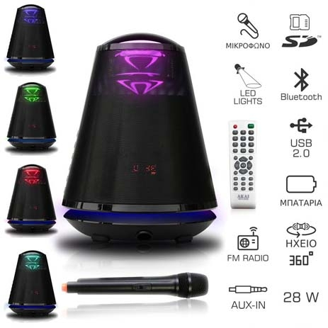Φορητό Ηχείο Bluetooth Omnidirectional με Led & Ασύρματο Μικρόφωνο Akai ABTS-605B