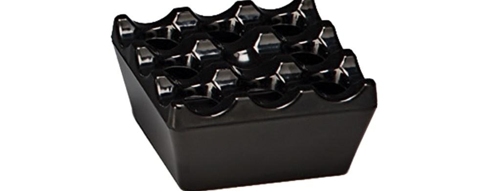 Αντιανεμικό Τασάκι Μελαμίνης 9x9x4cm Alkan K-2012 Μαύρο