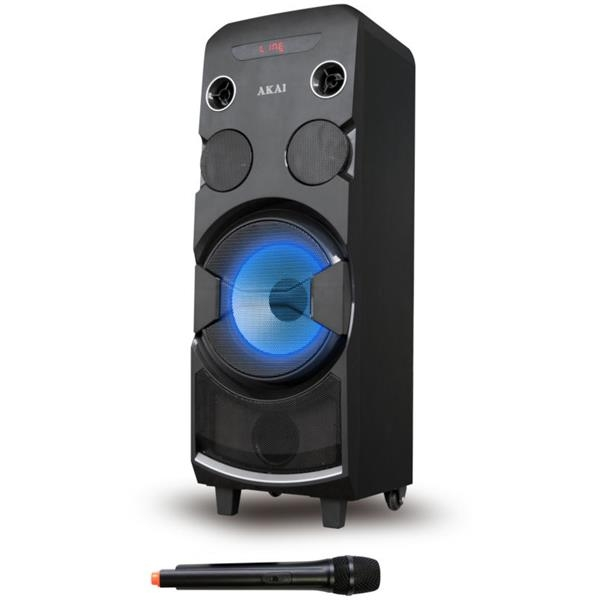 Φορητό Ηχείο Karaoke με Bluetooth, Led 80W Rms Akai ABTS-1002