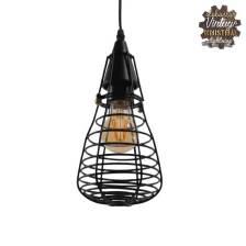 Vintage Industrial Κρεμαστό Φωτιστικό Οροφής Μονόφωτο Μαύρο Μεταλλικό Πλέγμα Φ13 GloboStar ALDO 01058