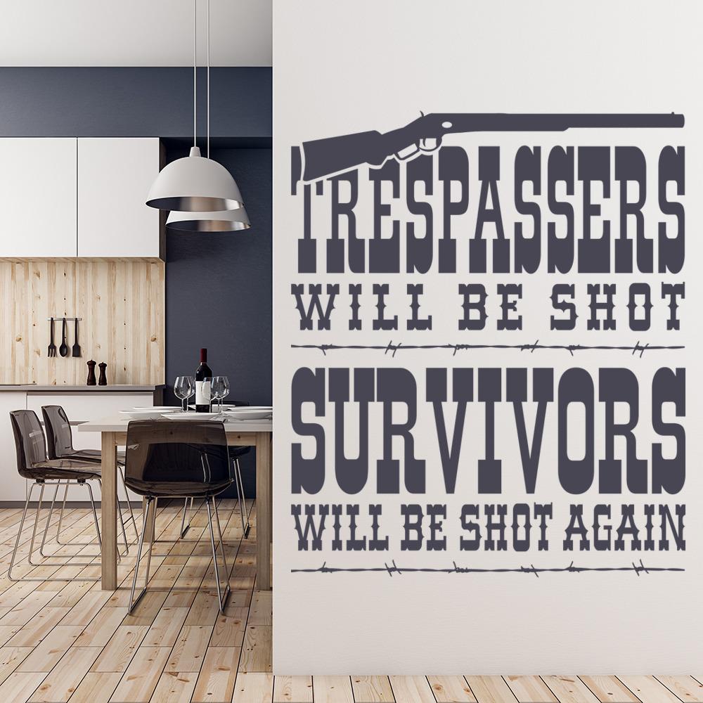 Trespassers Will Be Shot Cowboy America USA Wall Stickers