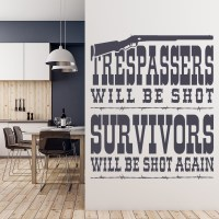 Trespassers Will Be Shot Cowboy America USA Wall Stickers