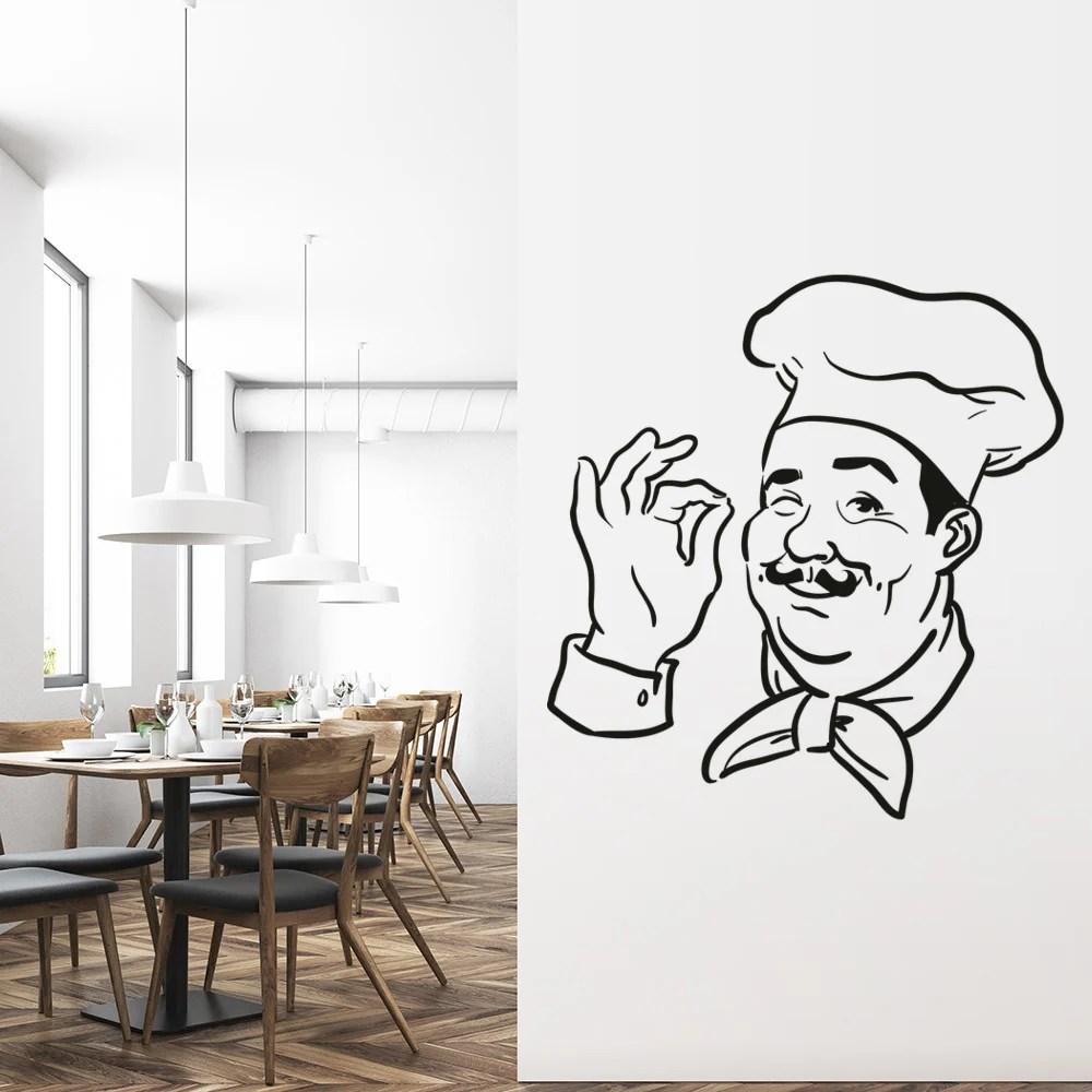 Chef Head Chef Hat Restaurant Kitchen Food And Drink Wall Sticker Kitchen Decals  eBay