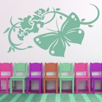 Butterfly And Flowers Wall Stickers Floral Wall Decal Art ...