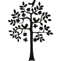 Birds In A Tree Silhouette Flowers And Trees Wall Stickers ...