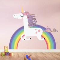 Rainbow Unicorn Wall Sticker Girls Bedroom Wall Decal Art ...