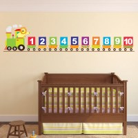 Number Train Wall Sticker Lion Wall Decal Baby Nursery