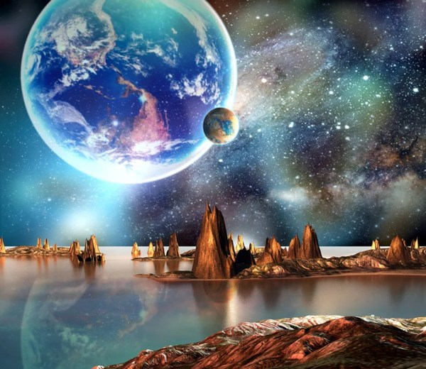 alien landscape space wall mural