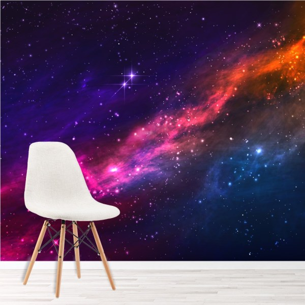 Outer Space Nebula Wall Mural Purple Pink Sky