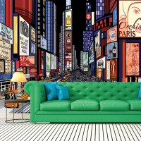 Times Square New York Wall Mural City Illustration Photo ...