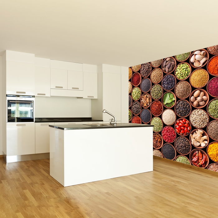 Colourful Spices Wall Mural Food Photo Wallpaper Kitchen Restaurant Home Decor  eBay