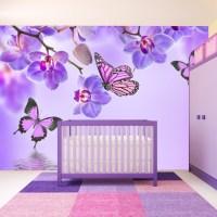 Purple Butterfly & Orchid Flowers Wall Mural Wallpaper WS ...