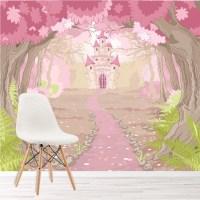 Pink Princess Castle Wall Mural Fairytale Photo Wallpaper ...