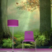 Enchanted Forest Wall Mural Butterfly Tree Photo Wallpaper