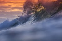 Ocean Wave & Orange Sky Seascape Water Wall Mural Nature ...