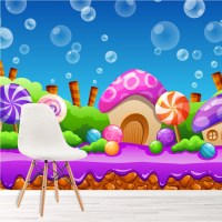 Cartoon Candy Land Fairytale & Fantasy Wall Mural kids ...