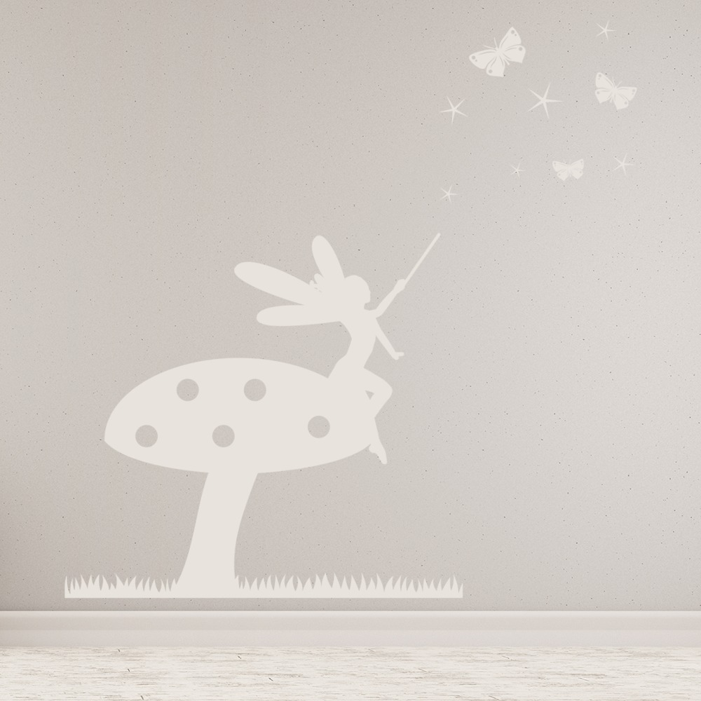 Toadstool Fairy Wall Sticker Scene Fantasy Wall Decal