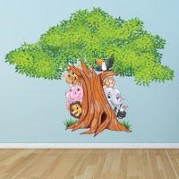 Jungle Tree Wall Sticker Animal Lion Wall Decal Nursery