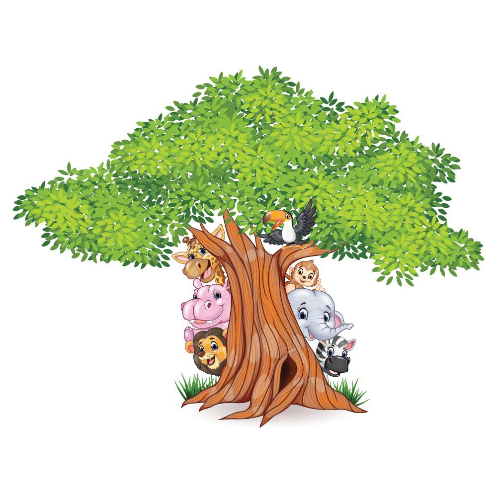 Jungle Tree Wall Sticker Animal Lion Wall Decal Nursery