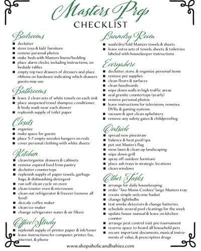 Masters Prep: a Checklist