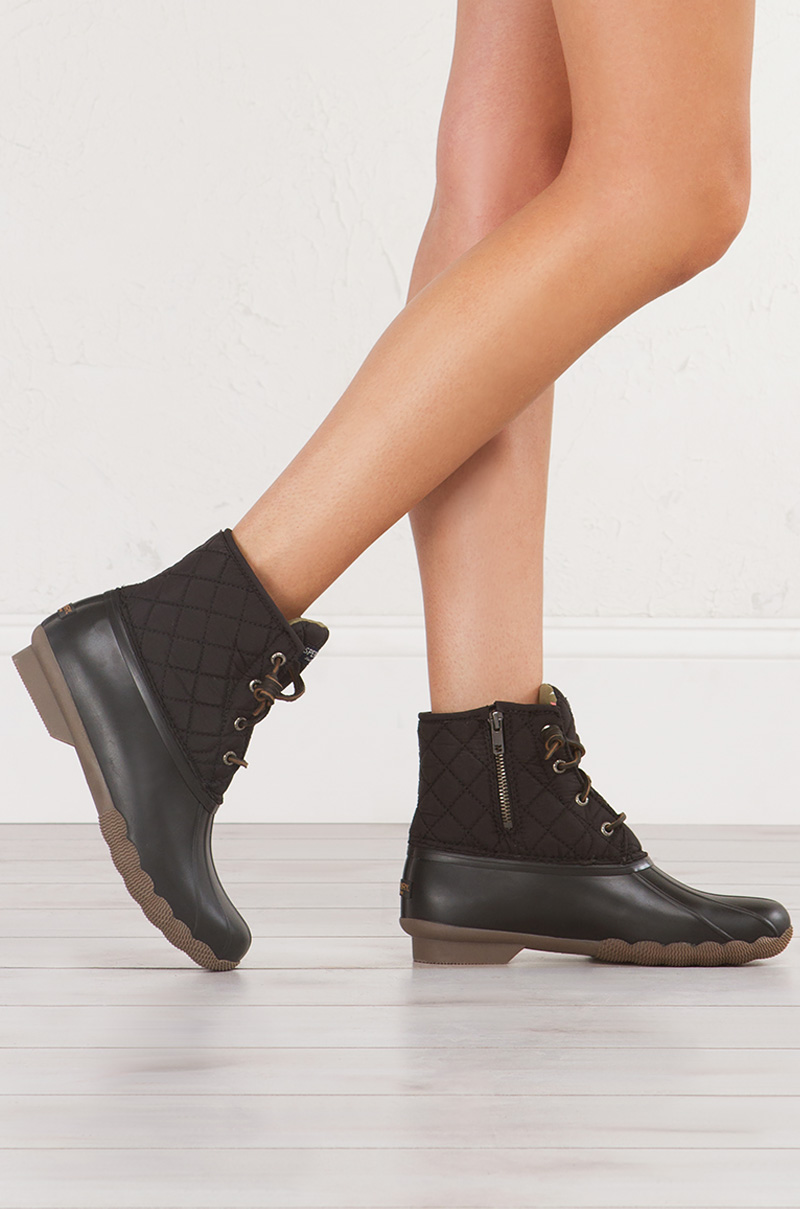 Sperry Waterproof Nylon and Rubber LaceUp Duck Boots in Black