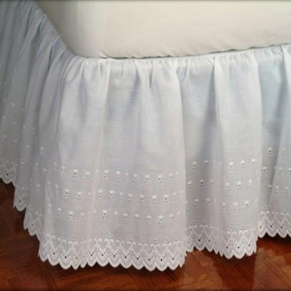 Victorian Eyelet Ruffled Bed Skirt  ShopBeddingcom