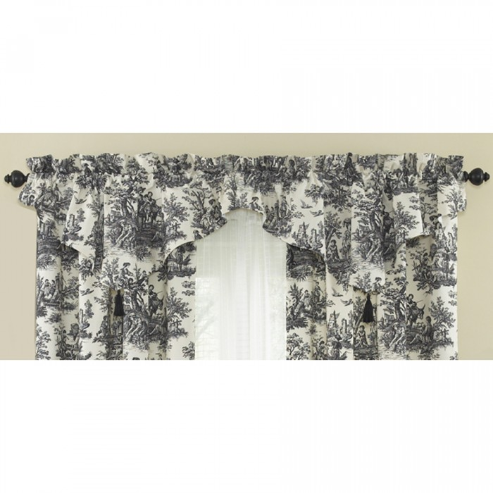 elegant kitchen curtains valances espresso pantry waverly country life toile curtain panel and ascot valance ...