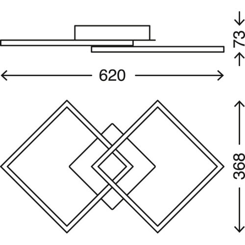 FRAMES - APPLIQUE/PLAFONIERA 62 X 37CM - LED 24WATT 1800LUMEN 3000K - STEP DIMMER- CROMO/ARGENTO