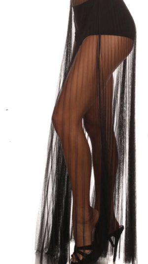 Black Mesh Maxi Skirt 3