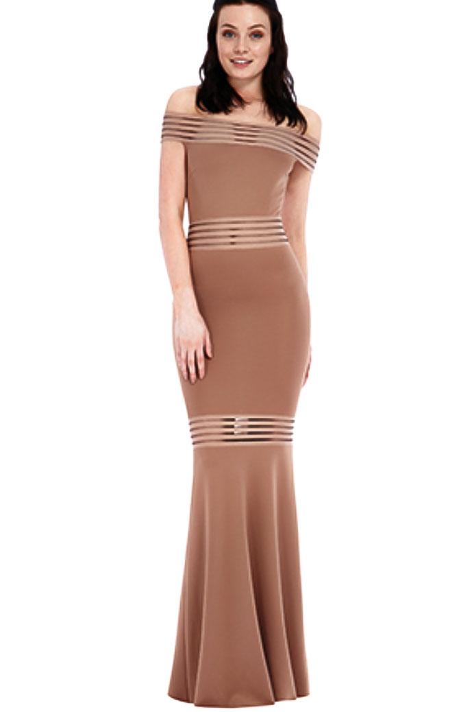 b3087f1193f8 Mocha Off Shoulder Maxi Dress - Shop Claudia Myers Boutique